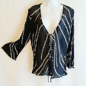 Donna Ricco Kimono Style Coverup Semi Sheer Top